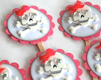 Girly Glitter Skulls & Crossbones, Birthday or Day of the Dead - Cupcake Toppers