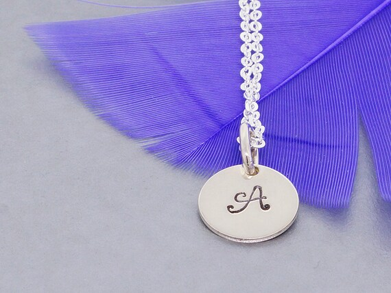 Initial necklace, Monogram charm pendant, sterling silver necklace, hand stamped initial charm