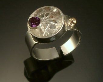 Geometric Amethyst Ring Sterling Silver 14k Gold Adjustable-  Free Us Shipping