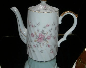 Lefton Teapot: Pink Rose Pattern ~ Numbered 3166 Foil sticker Japan  Hand painted Large Lefton China Tea Pot ~