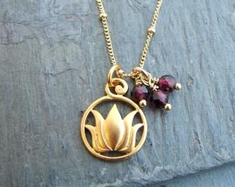 Lotus Flower Necklace | Garnet Gemstones  | Gold Jewelry | Love New Beginnings | Yoga Inspired Jewelry | Blooming Lotus Jewelry | Lotus