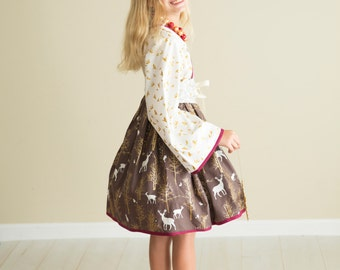 "Special ""Shimmer and Sparkle"" Christmas Themed Kimono Dress - Girls - Gold, Red & Brown - Reindeer - Snowflakes - Santa - Photos - Holiday"