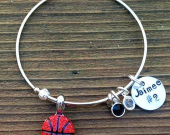 Adjustable bangle rhinestone Basketball bracelet.  Custom name, color and hand stamped name