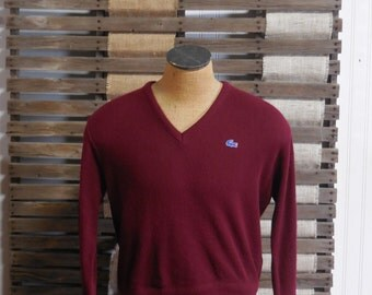 Red Red Wine Classic IZOD LACOSTE VNeck Sweater - M