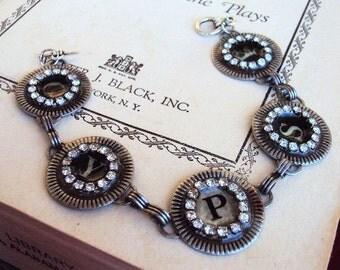 Vintage Style Gypsy Typewriter Key Link Bracelet Glass Resin Rhinestone Chain