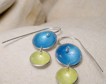 Colorful Earrings, Blue & Yellow Earrings, Round Dangle Enamel Earrings, Nautical Blue and Lemon Enamel Silver Earrings, Seaside Jewelry
