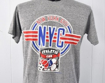 Vintage Near Burnout TShirt NYC New York City Athletic Club Sports Gray Grey 80s Tee TShirt Large Medium