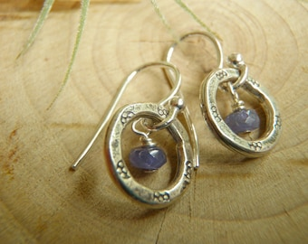 Tanzanite Signature Circle Earrings - Tanzanite, Thai Silver & Sterling Silver