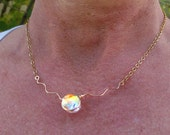 Delicate Dichroic Glass Mermaid Tear 14K Gold-filled Squiggle Choker in Translucent Tropical Cha Cha Colors, Dainty, Delicate, Sparkling