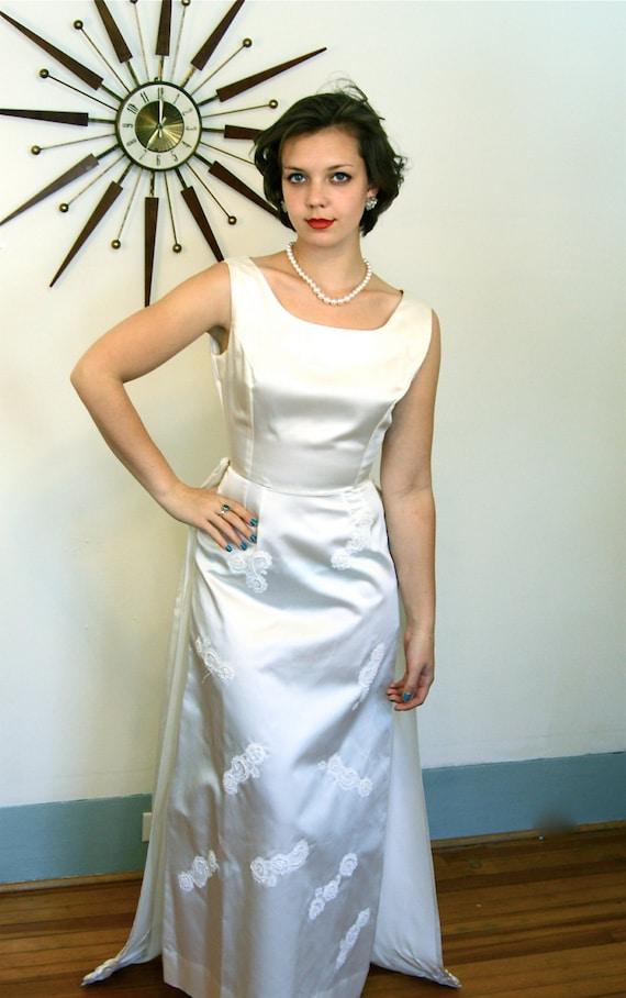 Vintage 1960s Ivory Satin Wedding Dress Long Column