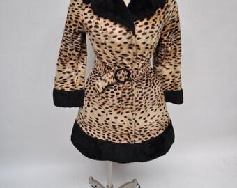 vintage LEOPARD print coat jacket wrap belted tiger stripe rockabilly rockabetty faux fur