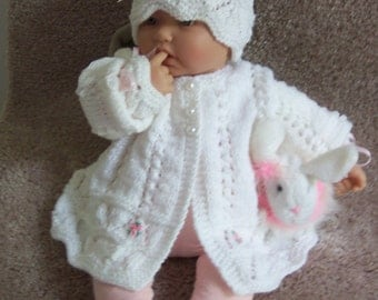 White baby Sweater hat  booties set Layette made in  Beautiful intricate lace stitch Pearl buttons 0-12M READY TO SHIP