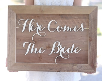 Here Comes The Bride Rustic Wedding Sign Photo Prop QUICK shipping available