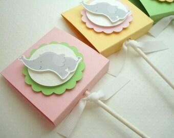 Baby Elephant Lollipop Favors for Girl, Pastel Colors, Set of Ten