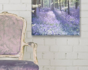 Woodland Nature Photograph on Canvas, Bluebell Wood Gallery Wrapped Canvas, Landscape Photograph, Large Wall Art