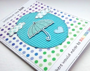 Motivational Card - Umbrella - Encouragement Card - Rainbow Quote - Cheering Up - Feel Better SALE