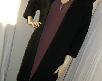 Vintage 1920s Style Flapper Wool Ribbon Sweater Coat Goth Thick Warm Exec Cond Simple Classic Elegant Size Medium