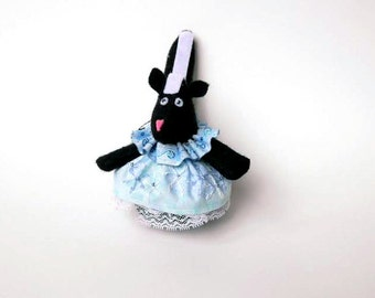 """Skunk Christmas Ornament or Door Hanger Made with Black and White Felt and Snowflake Dress in White and Blue, 4"""" Animal Ornament"""