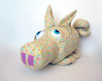 """Pig Stuffed Animal in Yellow, Coral, Aqua, Pink and Purple Floral Cotton Fabric 9 x 15"""", Baby Friendly Piggy Toy for a Baby Girl"""