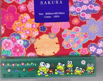 Cherry Blossom Material - 100% Cotton - 50cm x 100cm (19.7 x 39.4 inches) - Reference L1