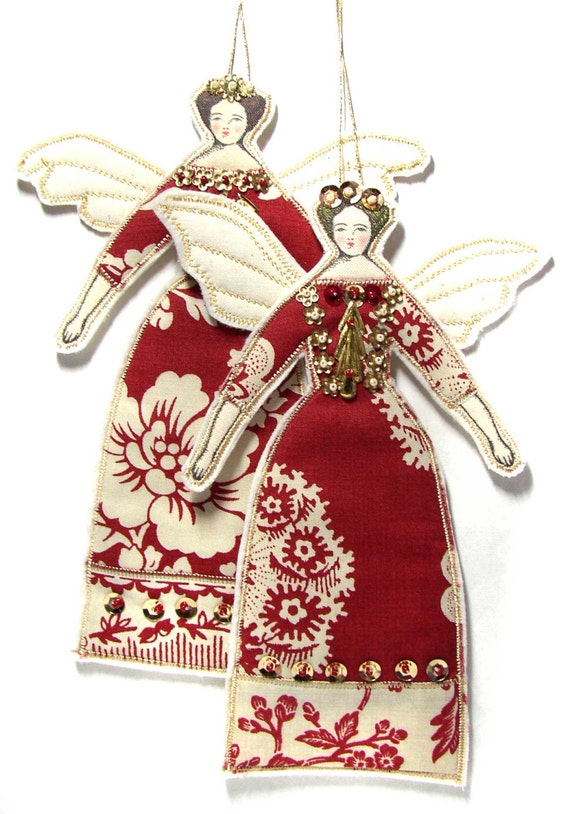 Two christmas angels cloth doll decorations textile art doll for Angel of the north christmas decoration