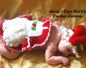Crochet Mrs. Santa Clause Photo Prop Cape and Hat Digital Crochet pattern pdf 732
