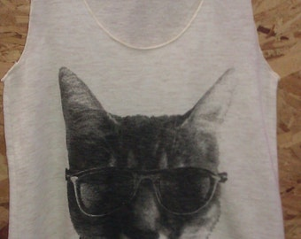 Kitty Cat in Sunglasses Tank Top T-shirt Ladies American Made Creme