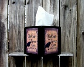 Tissue Box Cover, Wood Tissue Cover, Painted Wood, Primitive Decor, Black Crow, Decoupage, Advertisement, Hand Painted, Black