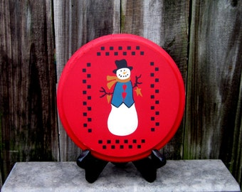Snowman Sign, Holiday Decor, Painted Wood, Round Sign, Primitive, Checkerboard, Festive Snowman, Holiday, Christmas, Red, Black, White, Blue