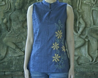SALE 25 USD--BB011---Half way (cotton vest with pleats and embroidery )