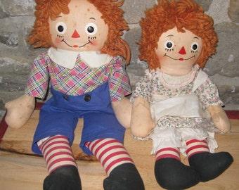 Georgene Averill Raggedy Ann & Andy 1940s Dolls