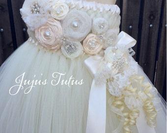 Ivory and Gold Flourish Flower Girl Dress with Rosettes and Woven Bodice, Tutu Dress, Wedding, Bridal, Attire, Empire Tutu Dress