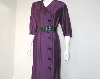 Vintage 1960s Louisa Alcott Purple Shimmering Dress with Angled Button Detailing