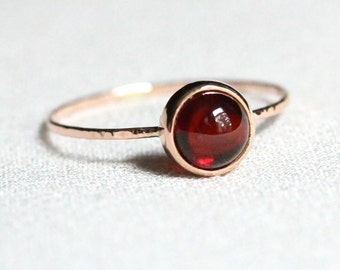 Select a Stone - Delicate Solid 14k Rose or Yellow Gold Birthstone Cabochon Ring - Simple Hammered Band Stacking Ring - Delicate Dainty