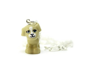 Puppy Necklace made from New Tan LEGO® Puppy Figure