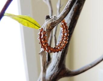 Small Hoop Earrings Swarovski Crystal Beaded Chocolate Brown Simple Minimal Bead