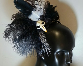 Black and White Skullband OOAK