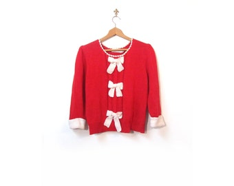 Vintage 80s Preppy Red Knit Bows Sweater women m l minnie mouse secretary boho vestiesteam indie hipster