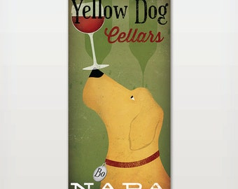 Personalized - Customizable  - Yellow Black Brown Dog LABRADOR Cellars Vineyard Wine Company Stretched Canvas Wall Art  Signed by artist