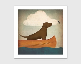 CANOE RIDE Brown Dog Chocolate Lab Print SIGNED by Ryan Fowler