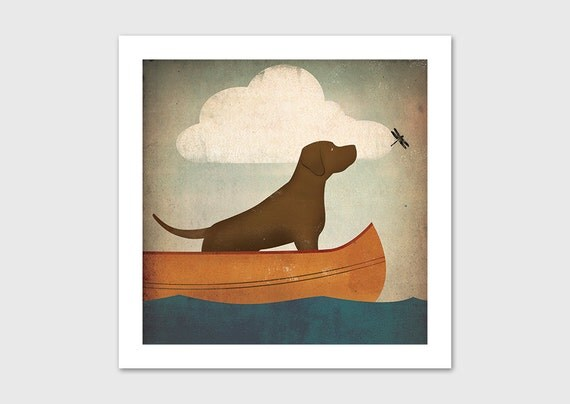 CANOE RIDE Brown Dog Chocolate Lab Print SIGNED by Ryan Fowler Labrador Retriever