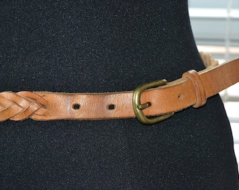 Vintage Skinny Leather Belt - A Simple Twist - Five Strand Braid - s/m