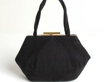 1940's Black WHC Weeda Corde Purse Handbag 40's