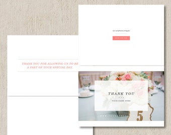 INSTANT DOWNLOAD - Wedding Photographer Thank You Card Template (digital Photoshop files) - 5x7 Folding Design - m0106