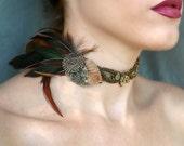 Victorian Renaissance Choker - Bronze Beaded Velvet Feather Choker - Antique Marcasite Headpiece