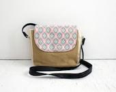 Crossbody Bag, Feathers / everyday bag, cross body purse, fabric handbag, fabric purse, small crossbody bag, vegan purse, crossbody purse