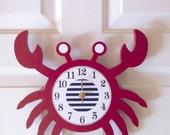 Crab clock, wooden crab, nautical nursery, nautical clock, red crab clock, cottage decor, crab room decor, children's clock