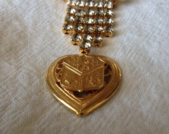 Heart Crest Brooch Rhinestones Dangle