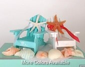 Beach Wedding Cake Topper - 2 Mini Adirondack Chairs with Natural Starfish - 6 Chair Colors and 24 Ribbon Choices