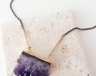 Raw Amethyst | Natural Stone | Gold Edged | Amethyst Bar Necklace | Long Brass Necklace | Long Gold Necklace | N100013
